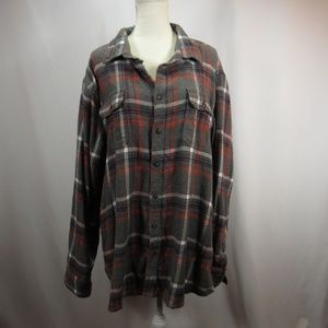 Sonoma Gray Red White Plaid Button Down Shirt XXL